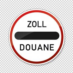 Zoll Douane road sign. EU or German sign at a toll station. Zoll and Douane both mean toll in english on checked transparent background. Vector illustration. Eps 10 vector file.- Stock Photo or Stock Video of rcfotostock | RC-Photo-Stock