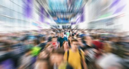 Zoom on anonymous crowd at a trade show or in a trade mall - Stock Photo or Stock Video of rcfotostock | RC-Photo-Stock