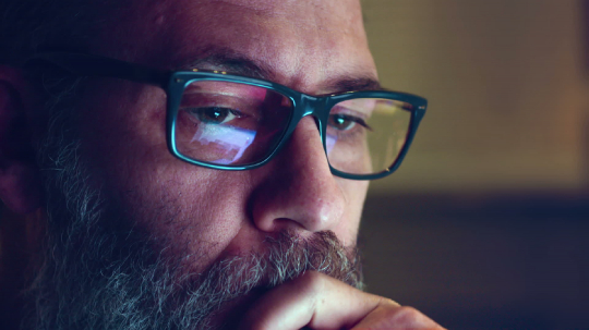 Creative Mature Adult Man Chatting Browsing at late night  - Close Up shot with Display Glasses Reflection- Stock Photo or Stock Video of rcfotostock   RC-Photo-Stock