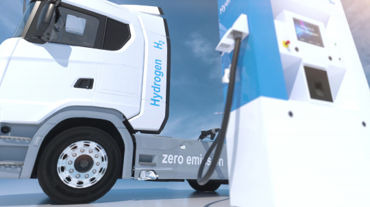 hydrogen logo on gas stations fuel dispenser. h2 combustion Truck engine for emission free ecofriendly transport. 3d rendering- Stock Photo or Stock Video of rcfotostock | RC-Photo-Stock