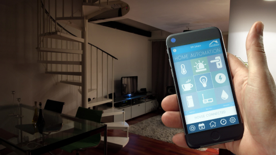 Smart Home - smart house, home automation, device with app icons. Man uses his smart phone with smarthome security app to turn on the lights of his house. (Shot on RED)- Stock Photo or Stock Video of rcfotostock | RC-Photo-Stock