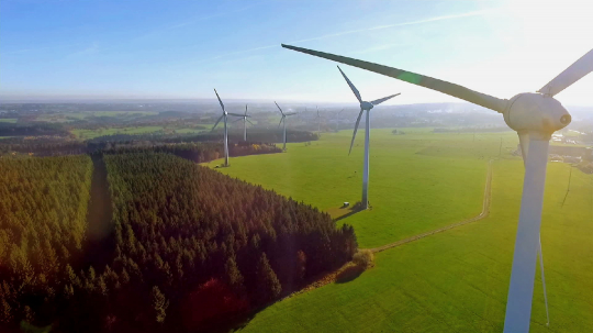 Windmill / Wind power technology - Aerial drone view on Wind Power, Turbine, Windmill, Energy Production - Green technology, a clean and renewable energy solution- Stock Photo or Stock Video of rcfotostock | RC-Photo-Stock
