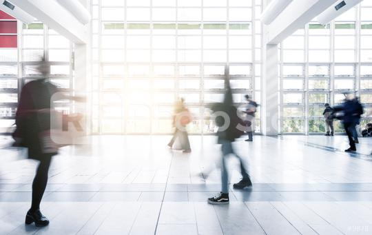 Blurred people walking in a modern trade fair hall  : Stock Photo or Stock Video Download rcfotostock photos, images and assets rcfotostock | RC-Photo-Stock.: