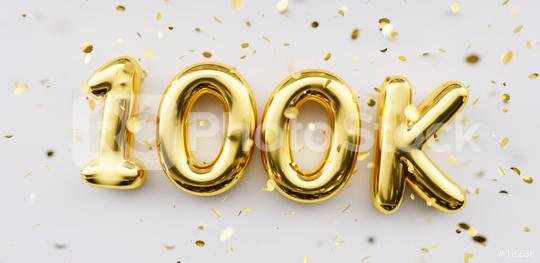100k followers celebration. Social media achievement poster. 100k followers thank you lettering. Golden sparkling confetti ribbons. Gratitude text on white background.  : Stock Photo or Stock Video Download rcfotostock photos, images and assets rcfotostock | RC-Photo-Stock.: