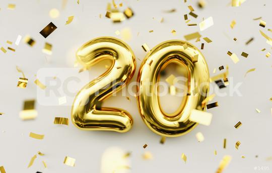 20 years old. Gold balloons number 20th anniversary, happy birthday congratulations  : Stock Photo or Stock Video Download rcfotostock photos, images and assets rcfotostock | RC-Photo-Stock.: