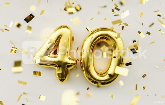 40 years old. Gold balloons number 40th anniversary, happy birthday congratulations  : Stock Photo or Stock Video Download rcfotostock photos, images and assets rcfotostock | RC-Photo-Stock.: