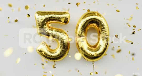 50 years old. Gold balloons number 50th anniversary, happy birthday congratulations, with falling confetti on white background  : Stock Photo or Stock Video Download rcfotostock photos, images and assets rcfotostock   RC-Photo-Stock.: