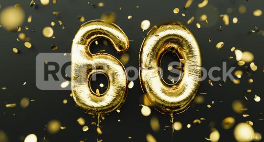60 years old. Gold balloons number 60th anniversary, happy birthday congratulations, with falling confetti  : Stock Photo or Stock Video Download rcfotostock photos, images and assets rcfotostock | RC-Photo-Stock.: