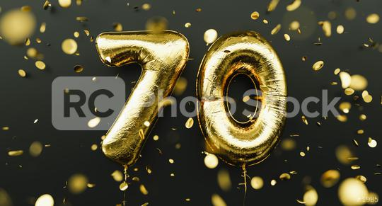 70 years old. Gold balloons number 70th anniversary, happy birthday congratulations, with falling confetti  : Stock Photo or Stock Video Download rcfotostock photos, images and assets rcfotostock | RC-Photo-Stock.: