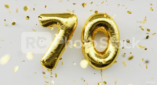 70 years old. Gold balloons number 70th anniversary, happy birthday congratulations, with falling confetti on white background  : Stock Photo or Stock Video Download rcfotostock photos, images and assets rcfotostock | RC-Photo-Stock.: