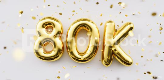 80k followers celebration. Social media achievement poster. 80k followers thank you lettering. Golden sparkling confetti ribbons. Gratitude text on white background.  : Stock Photo or Stock Video Download rcfotostock photos, images and assets rcfotostock   RC-Photo-Stock.: