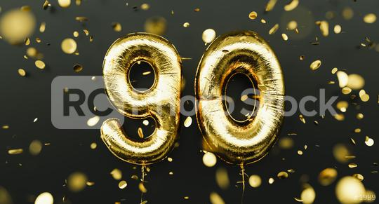 90 years old. Gold balloons number 90th anniversary, happy birthday congratulations, with falling confetti  : Stock Photo or Stock Video Download rcfotostock photos, images and assets rcfotostock | RC-Photo-Stock.: