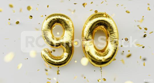 90 years old. Gold balloons number 90th anniversary, happy birthday congratulations, with falling confetti on white background  : Stock Photo or Stock Video Download rcfotostock photos, images and assets rcfotostock | RC-Photo-Stock.: