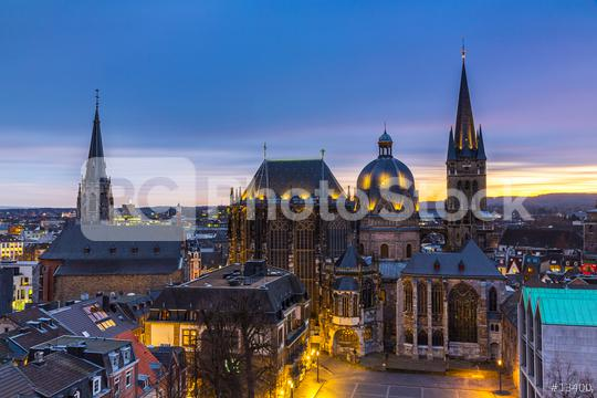 Aachen Cathedral at blue hour  : Stock Photo or Stock Video Download rcfotostock photos, images and assets rcfotostock   RC-Photo-Stock.: