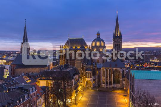 Aachen Cathedral night at sunset  : Stock Photo or Stock Video Download rcfotostock photos, images and assets rcfotostock | RC-Photo-Stock.: