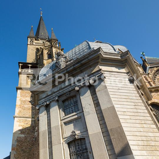 Aachen Cathedral with Westwerk tower in summer  : Stock Photo or Stock Video Download rcfotostock photos, images and assets rcfotostock | RC-Photo-Stock.: