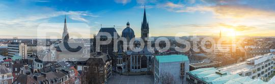 Aachen city panorama with Cathedral (Dom) at sunset  : Stock Photo or Stock Video Download rcfotostock photos, images and assets rcfotostock   RC-Photo-Stock.: