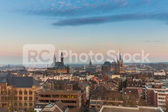 Aachen city skyline at sunset  : Stock Photo or Stock Video Download rcfotostock photos, images and assets rcfotostock | RC-Photo-Stock.: