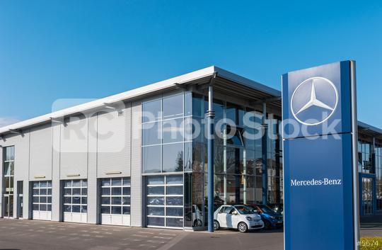 AACHEN, GERMANY FEBRUARY, 2017: Office of official dealer Mercedes-Benz. Mercedes-Benz is a German automobile manufacturer.   : Stock Photo or Stock Video Download rcfotostock photos, images and assets rcfotostock   RC-Photo-Stock.: