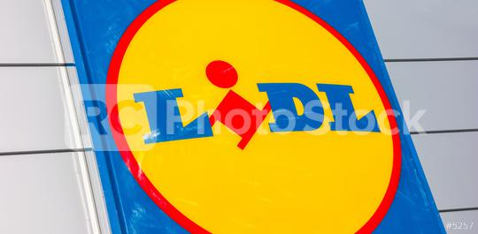 AACHEN, GERMANY JANUARY, 2017: Close up of the LIDL supermarket chain sign. LIDL is a German global discount supermarket chain, based in Neckarsulm, Baden-Wuerttemberg, Germany.  : Stock Photo or Stock Video Download rcfotostock photos, images and assets rcfotostock | RC-Photo-Stock.: