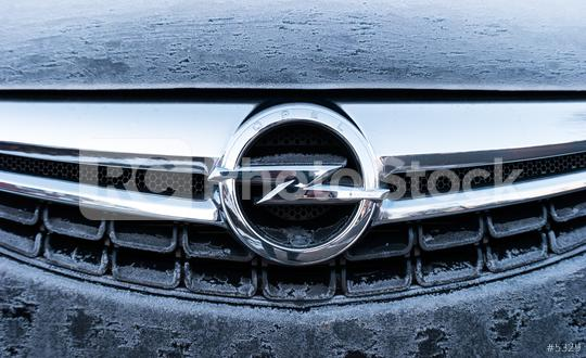 AACHEN, GERMANY JANUARY, 2017: Frozen Opel logo on a car grilll. Opel AG is a German automobile manufacturer.  : Stock Photo or Stock Video Download rcfotostock photos, images and assets rcfotostock | RC-Photo-Stock.: