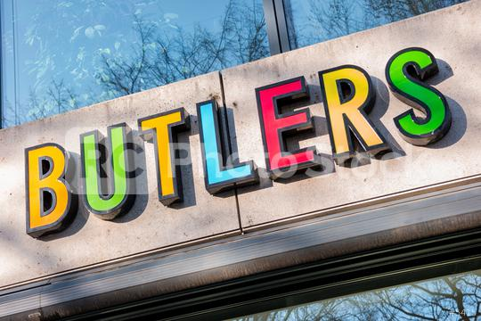 """AACHEN, GERMANY JANUARY, 2017: The logo of the brand """"Butlers"""", Butlers is a home accessories store in Aachen, Germany.  : Stock Photo or Stock Video Download rcfotostock photos, images and assets rcfotostock 