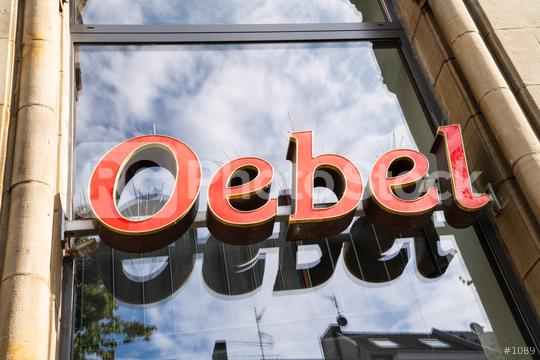 AACHEN, GERMANY JULY 2019:  Oebel bakery Store Logo. Headquartered in Aachen, Oebel is a bakery company since 1918, with bakeries and bakery cafes in Aachen and around NRW.  : Stock Photo or Stock Video Download rcfotostock photos, images and assets rcfotostock | RC-Photo-Stock.: