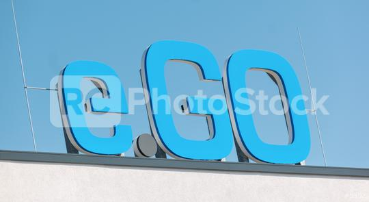 AACHEN, GERMANY JULY 2019: Logo of e.GO Mobile on the entrance to the company