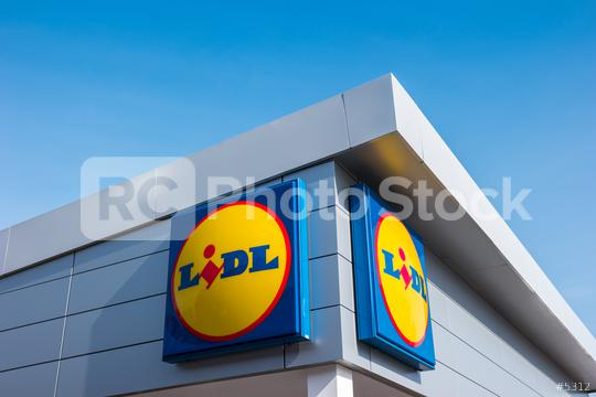 AACHEN, GERMANY MARCH, 2017: LIDL supermarket chain sign. LIDL is a German global discount supermarket chain, based in Neckarsulm, Baden-Wuerttemberg, Germany.  : Stock Photo or Stock Video Download rcfotostock photos, images and assets rcfotostock | RC-Photo-Stock.: