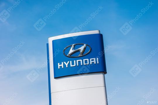 AACHEN, GERMANY MARCH, 2017: Logotype of Hyundai corporation over blue Sky.  Hyundai is the South Korea