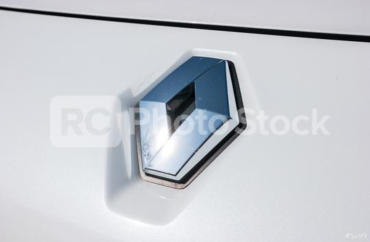 AACHEN, GERMANY MARCH, 2017: Renault logo close-up on a white car. Renault S.A. is a French car manufacturer producing cars, vans, buses, trucks, tractors, tanks, autorail vehicles  : Stock Photo or Stock Video Download rcfotostock photos, images and assets rcfotostock | RC-Photo-Stock.: