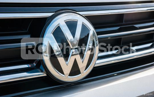AACHEN, GERMANY MARCH, 2017: Volkswagen VW plate logo on a car. Volkswagen is a famous European car manufacturer company based on Germany.  : Stock Photo or Stock Video Download rcfotostock photos, images and assets rcfotostock | RC-Photo-Stock.:
