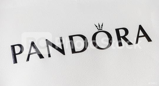 AACHEN, GERMANY OCTOBER, 2017: Logo of a Pandora on a bag. Pandora is a company founded at 1982 that designs manufactures and markets jewelry.  : Stock Photo or Stock Video Download rcfotostock photos, images and assets rcfotostock | RC-Photo-Stock.: