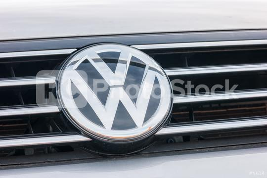 AACHEN, GERMANY OCTOBER, 2017: Volkswagen VW logo on a silver car. Volkswagen is a famous European car manufacturer company based on Germany.  : Stock Photo or Stock Video Download rcfotostock photos, images and assets rcfotostock | RC-Photo-Stock.: