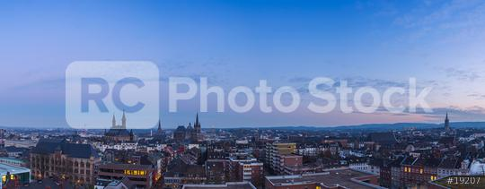 Aachen Panorama at blue hour sunset  : Stock Photo or Stock Video Download rcfotostock photos, images and assets rcfotostock   RC-Photo-Stock.: