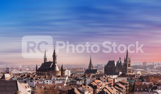 Aachen town hall and cathedral at sunset  : Stock Photo or Stock Video Download rcfotostock photos, images and assets rcfotostock | RC-Photo-Stock.: