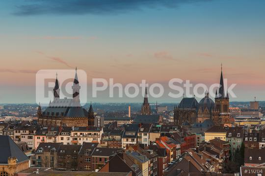 Aachen town hall and cathedral at sunset  : Stock Photo or Stock Video Download rcfotostock photos, images and assets rcfotostock   RC-Photo-Stock.: