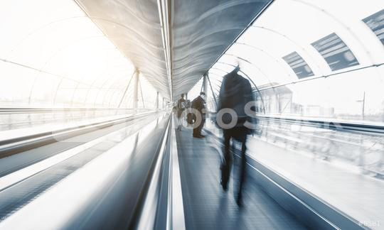 abstrakt Commuters in speed on a escalator  : Stock Photo or Stock Video Download rcfotostock photos, images and assets rcfotostock | RC-Photo-Stock.: