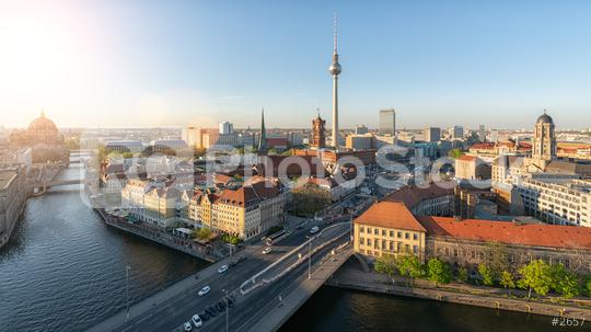 Aerial view of Berlin skyline and Spree river in beautiful evening light at sunset in summer, Germany  : Stock Photo or Stock Video Download rcfotostock photos, images and assets rcfotostock   RC-Photo-Stock.: