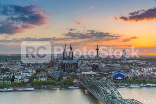 Aerial view of Cologne at sunset  : Stock Photo or Stock Video Download rcfotostock photos, images and assets rcfotostock | RC-Photo-Stock.: