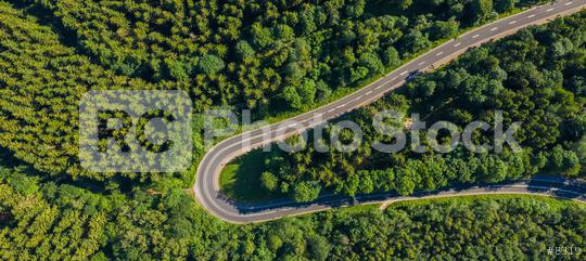 Aerial view of mountain curve road with cars, green forest in spring in Europe. Landscape with asphalt road, and trees. Highway through the park. Top view from flying drone.  : Stock Photo or Stock Video Download rcfotostock photos, images and assets rcfotostock | RC-Photo-Stock.: