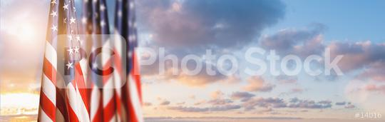 American flag against sunset sky with clouds for Memorial Day, 4th of July or Labour Day, copy space for individual text  : Stock Photo or Stock Video Download rcfotostock photos, images and assets rcfotostock | RC-Photo-Stock.: