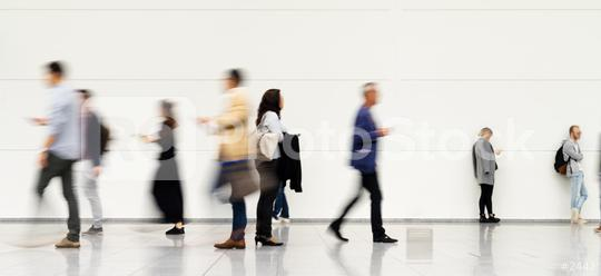 Anonymous blurred business people rush through trade fair hall or airport  : Stock Photo or Stock Video Download rcfotostock photos, images and assets rcfotostock | RC-Photo-Stock.: