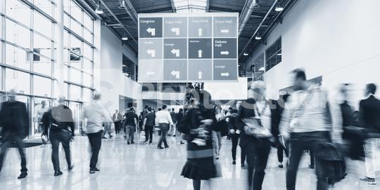 Anonymous blurred people walking in a hall of a Exhibition  : Stock Photo or Stock Video Download rcfotostock photos, images and assets rcfotostock   RC-Photo-Stock.: