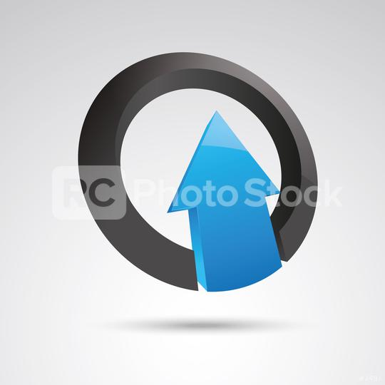 arrow in a ring 3d vector icon as logo formation in black and blue glossy colors, Corporate design. Vector illustration. Eps 10 vector file.  : Stock Photo or Stock Video Download rcfotostock photos, images and assets rcfotostock   RC-Photo-Stock.: