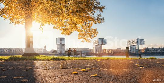 autumn view of the Cologne Skyline at sunset, germany  : Stock Photo or Stock Video Download rcfotostock photos, images and assets rcfotostock | RC-Photo-Stock.: