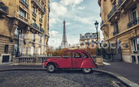 Avenue de Camoens in Paris with red retro car  : Stock Photo or Stock Video Download rcfotostock photos, images and assets rcfotostock   RC-Photo-Stock.:
