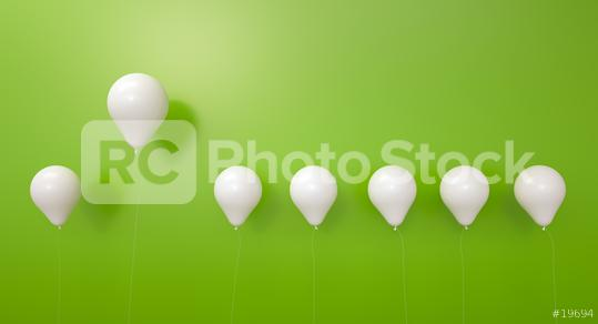 balloon between white balloons as challenge or leadership concept - 3D Rendering  : Stock Photo or Stock Video Download rcfotostock photos, images and assets rcfotostock | RC-Photo-Stock.: