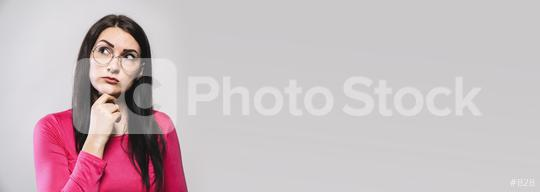 beautiful young woman thinking and looking upwards. The concept of perception and reflection, banner size, with copyspace for your individual text.  : Stock Photo or Stock Video Download rcfotostock photos, images and assets rcfotostock | RC-Photo-Stock.: