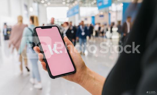 BERLIN, GERMANY AUGUST 2019: Woman hand holding iphone Xs with logo of Klarna Bank AB displayed on a smartphone.  : Stock Photo or Stock Video Download rcfotostock photos, images and assets rcfotostock | RC-Photo-Stock.: